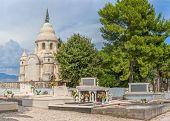 image of mausoleum  - Old traditional cemetery with mausoleum in Supetar on island Brac Croatia - JPG