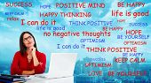 picture of positive thought  - Positive thinking young woman - JPG