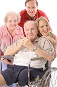 stock photo of disabled person  - shot of a Family with handicap father vertical - JPG