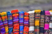 image of alpaca  - Colorful indigenous fabrics - JPG