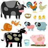 picture of household farm  - Illustration of isolated farm animals set on white background - JPG