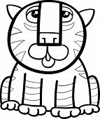 stock photo of cute tiger  - Black and White Cartoon Illustration of Cute Tiger Wild Cat Animal for Coloring Book - JPG