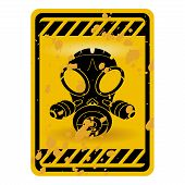 image of gas mask  - Grunge gas mask warning sign isolated over white - JPG
