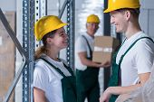 pic of workplace safety  - Young storage workers flirting together in workplace - JPG