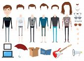 foto of outfits  - Set of vector character with different hair styles - JPG