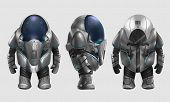 picture of spaceman  - Isolated spaceman in grey armored suit character standing in different angles illustration art - JPG