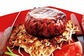foto of time-piece  - grilled beef fillet pieces on noodles  - JPG
