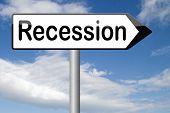 stock photo of stock market crash  - economic recession crisis bank and stock crash in economy and financial bank recession market crash sign  - JPG