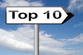 stock photo of prize winner  - top 10 charts list pop poll result  and award winners chart ranking music hits best top ten quality rating prize winner    - JPG