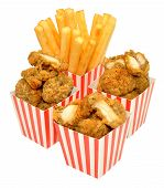 pic of fried chicken  - Southern fried chicken nuggets and French fries in red and white striped boxes - JPG