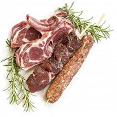 stock photo of souvlaki  - Raw lamb cutlets - JPG