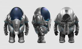 image of spaceman  - Isolated spaceman in grey armored suit character standing in different angles illustration art - JPG