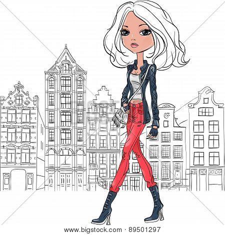 Vector beautiful fashion girl in Amsterdam