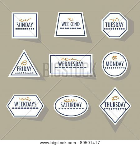 Long shadow white weekdays stickers set in different shapes on khaki background