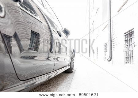 Wall Reflected In Car