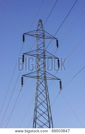 High Voltage Post On Clear Sky
