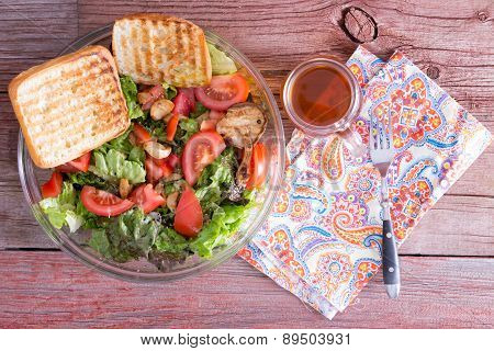 Healthy Mixed Leafy Green Salad With Tea