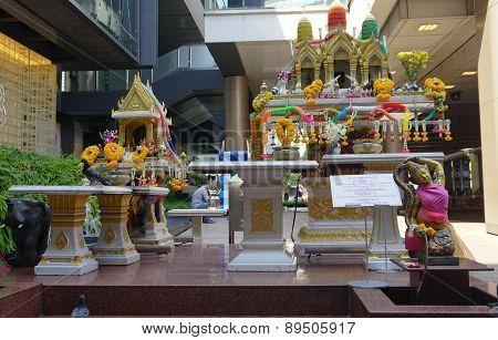 Small Altar On Street In Bangkok