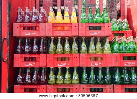 Bottled Soft Drinks In A Supermarket