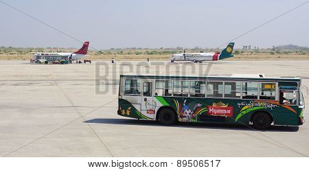 Civil Aircrafts Parking At Mandalay International Airport