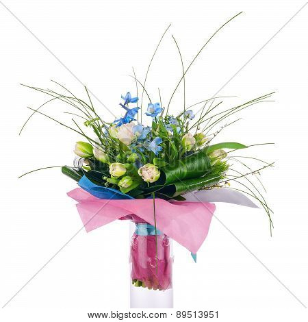 Flower Bouquet From Tulips, Iris And Other Flowers.