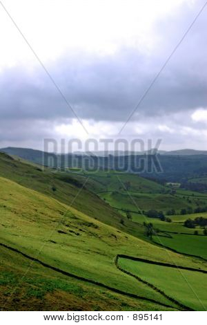 Dales View With Gathering Stormy Clouds