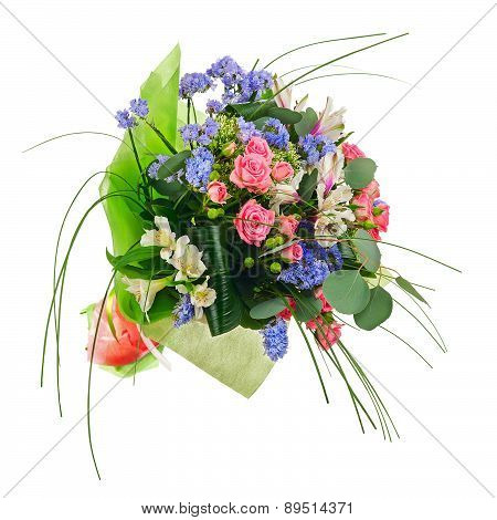 Flower Bouquet From Multi Colored Roses, Lilies And Other Flowers.
