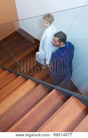 Young couple on stairs