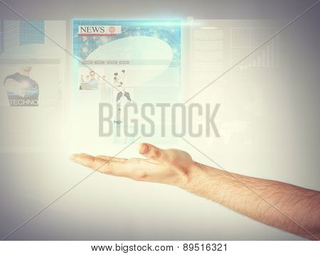 business, technology, internet and news concept - man with virtual screen reading news