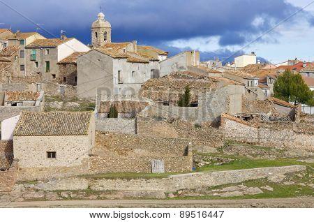 Malanquilla village view in Zaragoza province, Aragon, Spain.