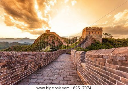 China famous landmark great wall and mountains