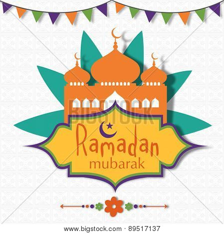 Holy month of Muslim community, Ramadan Kareem celebration with mosque on seamless floral design decorated background.