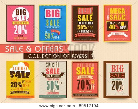 Stylish flyers collection of sale with discount offer for limited time.