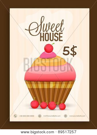 Vintage menu card design decorated with delicious cupcake for Sweet House .