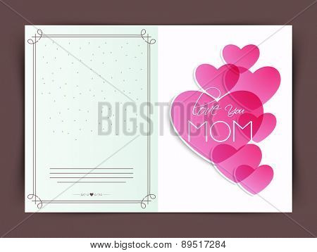 Happy Mother's Day celebration beautiful greeting card with text Love You Mom on pink hearts.