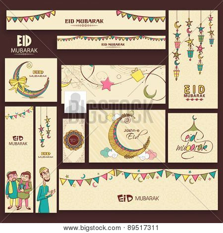 Social media and marketing banners, ads, posts, and headers for muslim community festival, Eid Mubarak celebration.