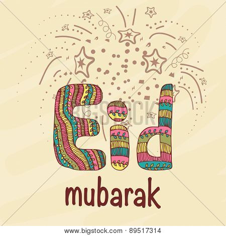 Colorful creative text of Eid Mubarak on stars decorated background for muslim community festival celebration.