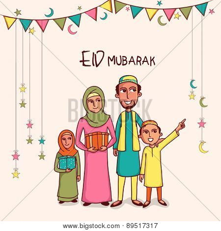 Illustration of happy islamic family in traditional dress celebrating and enjoying on occasion of muslim community festival, Eid Mubarak celebration.