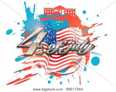Creative poster, banner or flyer with glossy silver text 4th of July on national flag color splash background for American Independence Day celebration.