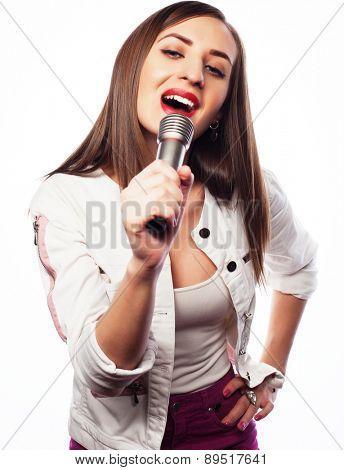 Beauty glamour singer girl portrait. Isolated on white background.