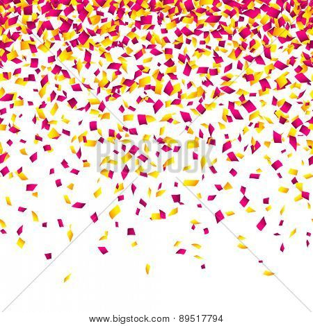 Confetti background. Horizontally seamless vector.