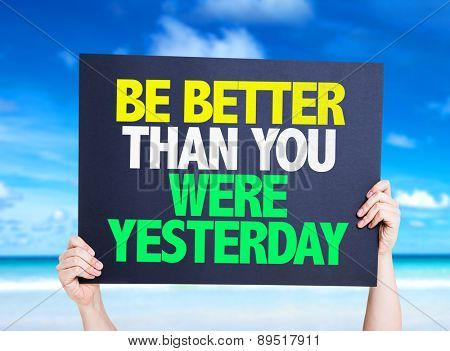 Be Better Than You Were Yesterday card with beach background