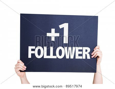 +1 Follower card isolated on white