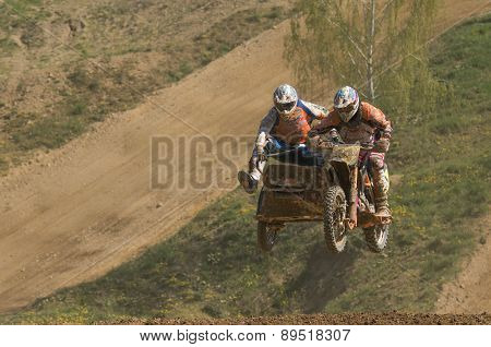 High Jump Of Sidecars Racers