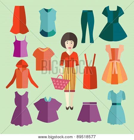 Flat Icons Set Of Fashion Clothing