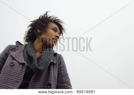 Outdoor photo of young african american woman