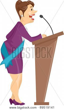 Illustration of a Lady with Sash giving her Speech on a Lectern