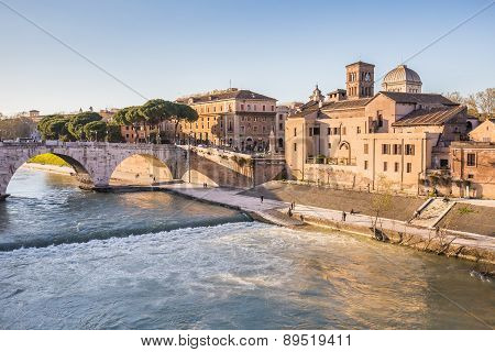 Rome Cityscape With The Tiber River