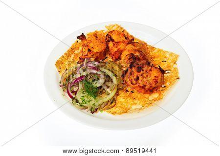 close up shot of restaurant food isolated on white background