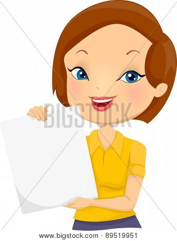 Illustration of a Girl holding a blank board smiling